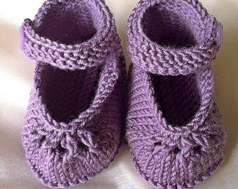 Knitted Baby Booties – handmade spring booties - Mary Jane shoes – baby shower gift - christening present