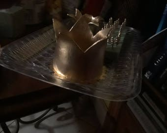 Beautiful golden crown cake topper