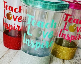 Teach Love Inspire // Teacher Gift // Personalized Teacher Tumbler