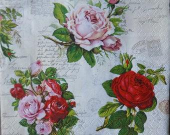 2* Paper napkins for decoupage, decoupage napkins, paper napkins roses,serviettes,vintage roses napkins,bouquet roses,tovaglioli,pañales