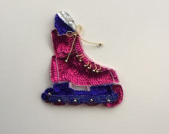 Sequin Hot Pink and Purple Roller Skate Applique