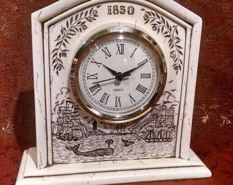 Nautical Skrimshaw Carved Mantle Clock