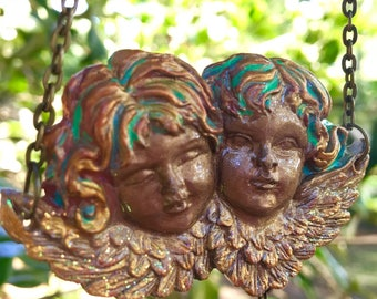 Twin Angels Polymer Clay Pendant
