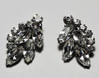 Vintage DeLizza and Elster JULIANA Clear Rhinestone Clip Style Earrings