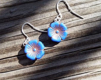 Blue and Gold Button Flower Earrings