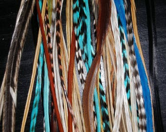 """20 XL Turquoise Earth Mix Salon Grade Feather Hair Extensions 7-13""""+ Extras"""