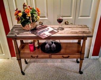 Antique Serving Cart - Sofa Table - Drift wood top, vintage!