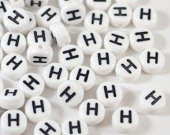 100 white letter beads *H*, alphabet beads, 7mm