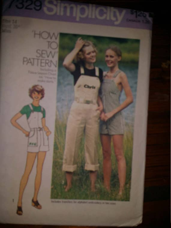 "Simplicity 7329 Women Mock Bib Overalls, Pants Shorts Crop or Capri Style Wide Straps Patch Pockets Size: 14 Bust 36"" Miss"