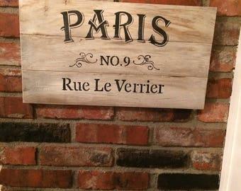 Handmade vintage Paris sign