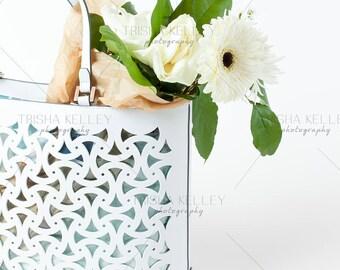 White Handbag with Bouquet