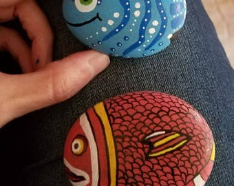 Hand painted fish rocks