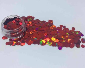 Holographic Red Cosmetic Grade Festival Glitter Hexagons - Cruelty Free