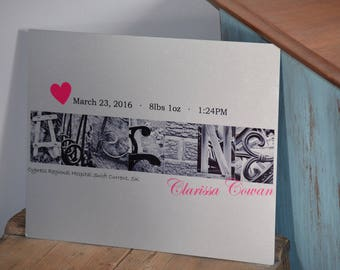 Custom birth announcement prints