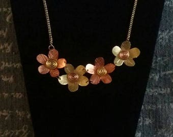 Copper and Brass Flower Necklace