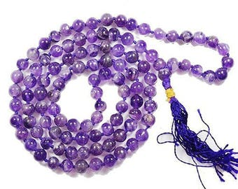 Beautiful 108+1 Beads (5 mm - 6mm) Natural - Pure Purple Amethyst Crystal Mala Healing Gemstone Necklace A+++ Quality for Prayer & Wear