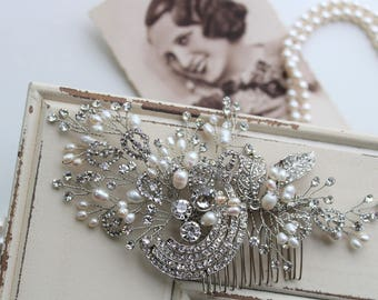 Art Deco Hair Comb , Vintage Style Crystal Pearl Hair Comb, Art Deco headpiece, Bridal Headpiece, Wedding Hair Comb