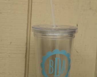 Monogram Tumbler With Lid and Straw
