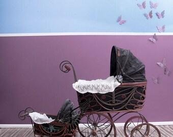 old pram infant and newborn set, digital backdrop