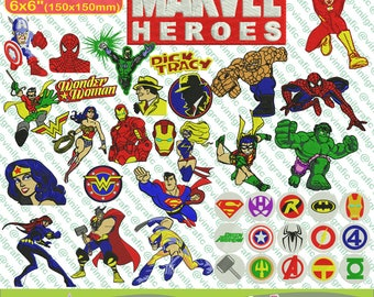 Marvel Heroes kit of 41 Embroidery Designs Brother Ironman Spiderman Hulk Wonder Woman Comic Spiderman Resizer Converter Software Included