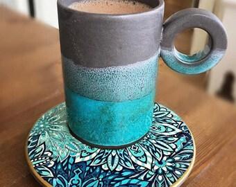 Handmade Ceramic Modern Tall Mug w/ Saucer (Flora)