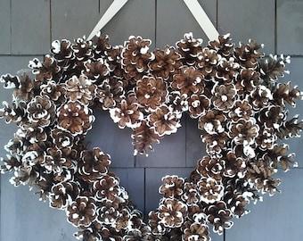 Pinecone Heart Wreath Wedding White / Rustic Wedding Decor