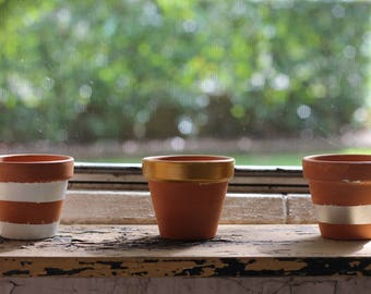 Small Terracotta Pots - Stripe Design Set of  3