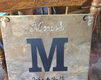 Personalized Anniversary , Wedding or new baby tile
