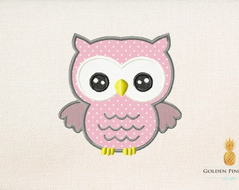 Owl applique embroidery design - forest applique design - baby appliqué design - farm appliqué design - owl embroidery design