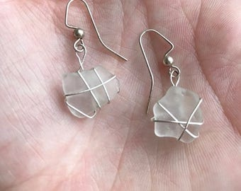 Clear Beach Glass Wire Wrapped Dangle