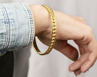 yellow gold cuff - vintage gold plated bracelet