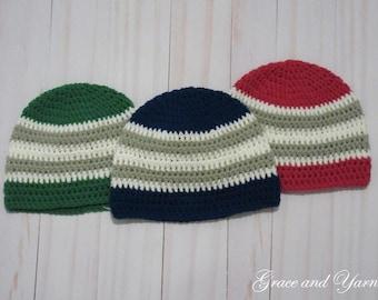 Crochet boys striped beanie hat