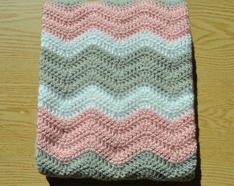 Pink,Gray and White Ripple Baby Blanket/ Chevron Baby Blanket/ Crochet Baby Blanket/ Baby Girl Blanket/ Pink Crochet Baby Blanket