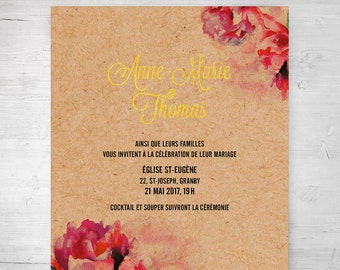 Wedding invitation, digital announcement - Flowers, watercolor, modern, rustic, romantic, gold, gilding