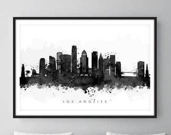 Los Angeles Skyline, Los Angeles California Cityscape, Wall Art, Art Print Watercolor [SWLAX05]