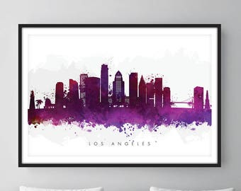 Los Angeles Skyline, Los Angeles California Cityscape, Wall Art, Art Print Watercolor [SWLAX08]