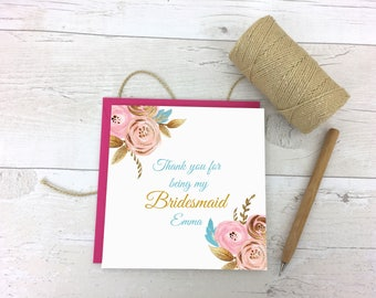 Thank you Bridesmaid - Gold Floral Thank you Bridesmaid Card - Bridesmaid Card - Thank you card - Thank you wedding card- Wedding Stationery