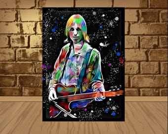 Tom Petty poster,the Heartbreakers poster,Tom Petty print,Tom Petty art,Traveling Wilburys,home decor,wall art,rock poster,rock print,art
