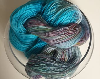 "Hand Dyed Yarn- Hand Dyed Sock Knitting Yarn 100 grams - ""Casa Da Ayo"""