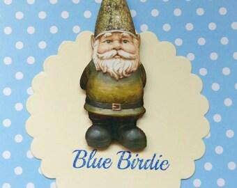 Garden gnome brooch gnome jewelry gnome badge gnome jewellery green gnome brooch gardening gift wooden gnome brooch