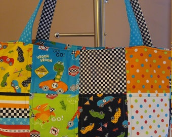 Quilted Tote Bag // Go! Go! Dino! by Susan Cousineau, Race Cars, Dinosaurs, Boys, Large Pocket, Book bag, Diaper Bag, Toy Bag