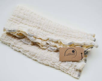 Gauze cloth of organic cotton, scarf, burp cloth, cloth diaper, baby, Preemie, cream muslin, vegan, girl, boy, beige, natural