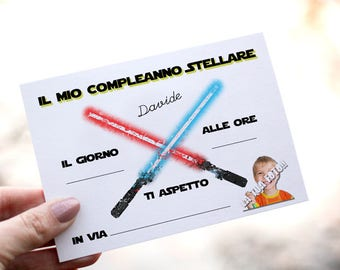 Birthday invitations for baby Star Wars. Customizable with photo and name.