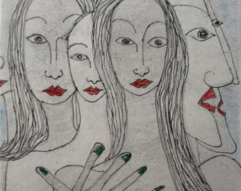 Ink drawing original modern line drawing 'The crowd no 2'by Alfred Halliday Art