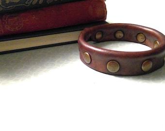 Brown leather studded bangle