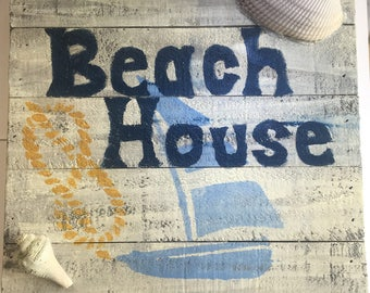 Beach House painted wooden sign