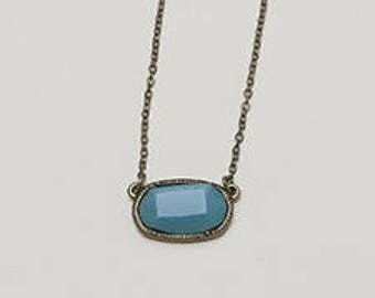 """The """"Soul"""" Antique Necklace. Turquoise jewel. Silver chain. Jbloom."""