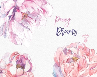 Peony Flower clipart , Peonies Floral clipart , Blush Peonies clip art , pink Peonies clip , Wedding Floral png , Pink Peonies