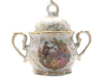 Sugar Bowl real porcelain Sofafils Golden vintage décor