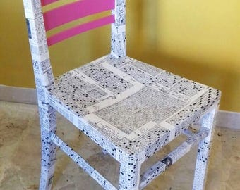 Chair upcycling, decoupage, white, black, Fuchsia. Chair design